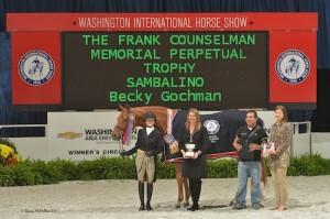 Becky Gochman and Sambalino in their grand champion presentation
