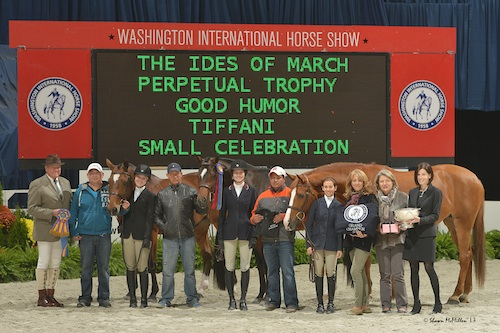 Grand Junior Hunter Championship presentation with Good Humor and Megan MacPherson, Small Celebration and Samantha Sommers, and Lili Hymowitz with Tiffani