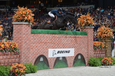 Olivier Philippaerts and Chicago VD Moleneind, last year's winners of the $25,000 Puissance sponsored by The Boeing Company. Photo © Shawn McMillen Photography.