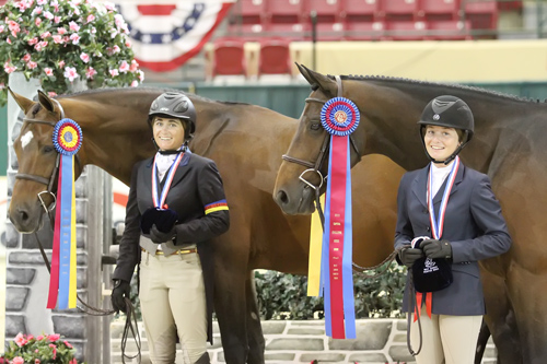 The Grand Junior Hunter Champions and Best Junior Hunter Riders: Ovation and Victoria Colvin, Sin City and Ashley Foster. Photo copyright Jennifer Wood Media, Inc.