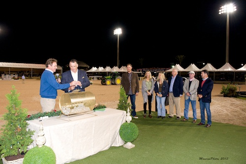 Wellington Chamber of Commerce President Victor Connor draws a charity name. The Chamber held their WinterFest event in conjunction  with ESP's Holiday & Horses Show.