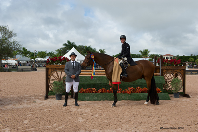 Molly Ashe and Kennzo in their winning presentation with ringmaster Gustavo Murcia. Photo (c) Mancini Photos.
