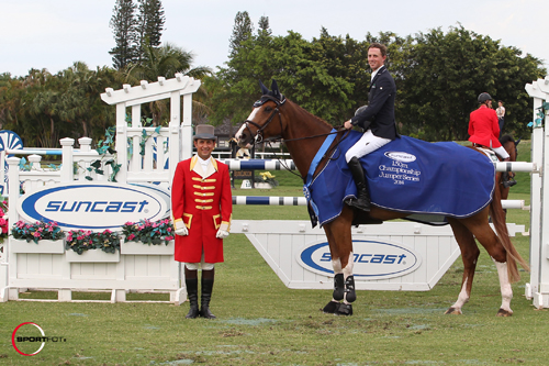 Ben Maher and Diva II in their winning presentation with ringmaster Gustavo Murcia
