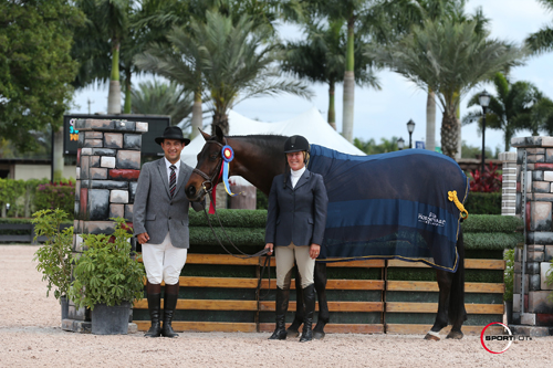 Elizabeth Solter and On The Town in their championship presentation with ringmaster Gustavo Murcia