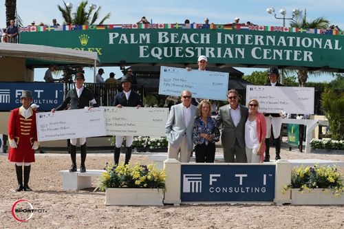 Top four riders in the $100,000 FTI Consulting Rider Challenge - Ben Maher, Beezie Madden, Kent Farrington, and Scott Brash with ringmaster Gustavo Murcia, Dennis Shaugnessy – Chairman of the Board of FTI Consulting, Mary Kay Shaughnessy, and Sport Productions President Mark Bellissimo and Katherine Bellissimo