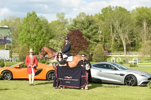 McLain Ward and Zander in their winning presentation with Ainsley Lothrop and Evan Cygler of Miller Motorcars.