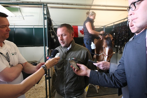 Canadian Olympic Gold Medalist Eric Lamaze welcomed media into his stable for interviews.