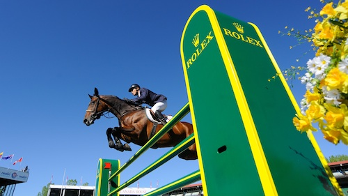 Jaime Azcarraga and Anton clear the ROLEX jump.