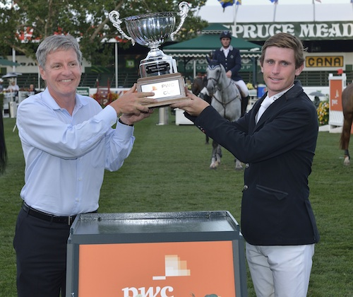 Darragh Kenny in his winning presentation with Cal Jacober, Office Managing Partner, PwC