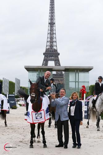 Gustavo in his winning presentation G&C Lucy in Paris. Photo copyright Sportfot.