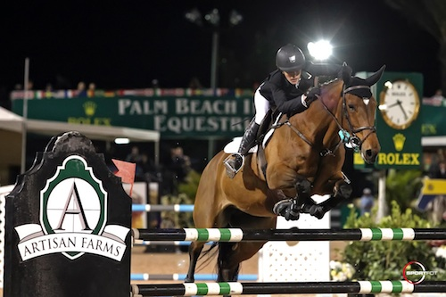 Nicole Bellissimo and VDL Bellefleur won last year's Series Semi-Final under the lights in the International Arena. Photo © Sportfot.