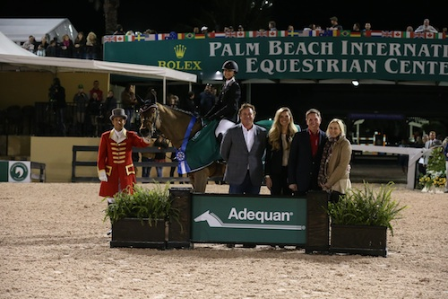 Georgina Bloomberg and Lilli in their winning presentation with ringmaster Gustavo Murcia; Equestrian Sport Productions' CEO Mark Bellissimo; Audrey Bolte, Adequan® Brand Manager; Allyn Mann,  Director of the Animal Health Division at Luitpold Pharmaceuticals, Inc.; and Katherine Bellissimo, WEP Principal