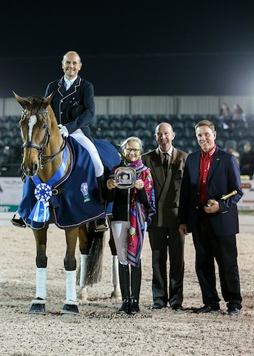 Petersen and Mariett in their winning presentation with Janne Rumbough of MTICA Farm, judge Eduard deWoolf (NED) and Allyn Mann of Adequan®.