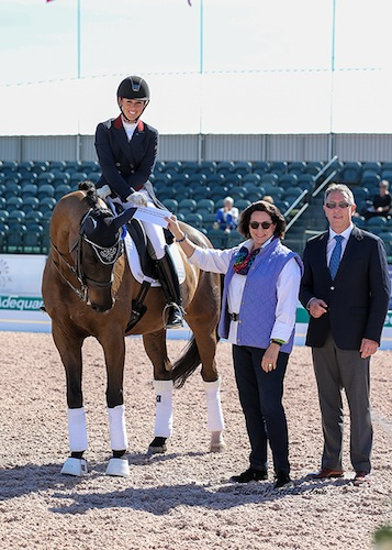 Kasey Perry and Goerklintgaards Dublet with Janet Richardson-Pearson of Chespeake Dressage Institute and judge Wim Ernes.