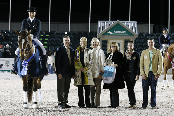 Last year's AGDF 3 FEI Grand Prix Freestyle winners, Lars Petersen and Mariett, accept their prize from Adequan's Allyn Mann, Kim Boyer, and representatives of the US P.R.E. Association.  Photo © SusanJStickle.com