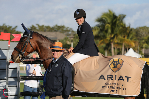 Brianne Goutal and Ballade van het Indihof in their winning presentation with Equestrian Sport Productions President Michael Stone