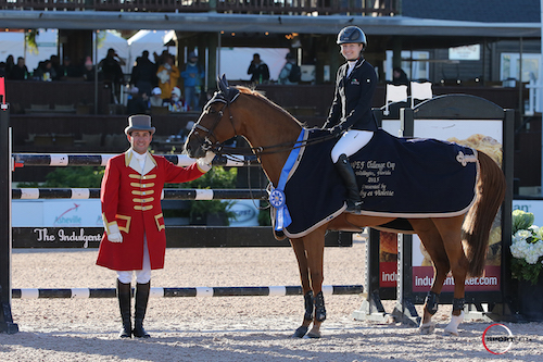 Lucy Davis and Barron in their winning presentation with ringmaster Gustavo Murcia