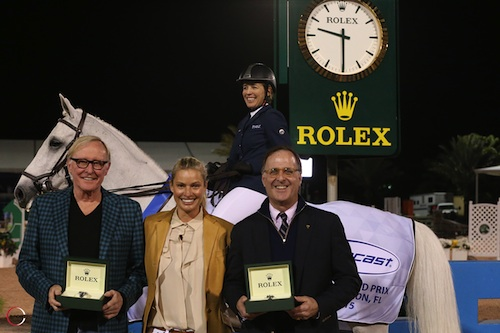 Meredith Michaels-Beerbaum and Fibonacci 17 with owners Jim and Kristy Clark and Peter Nicholson of Rolex Watch USA.