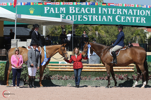 Schaefer Raposa with Lucille and Megan McCann with First Look in their winning presentation with USHJA's Marla Holt, ringmaster Gustavo Murcia, and Carol Cone
