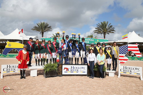 Top three Children's teams of USA, Brazil and Argentina with Equiline's Charly Miller and Kelly Molinari
