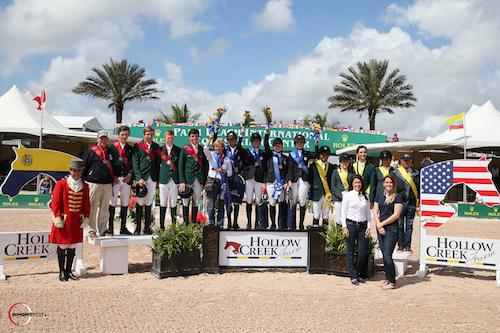 Top three Junior teams - USA, Ireland and Brazil with Equiline's Charly Miller and Kelly Molinari