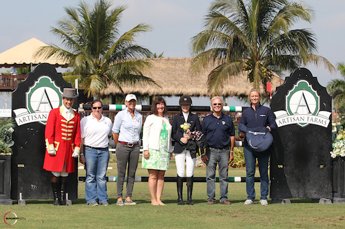 Lucy Deslauriers in her winning presentation with ringmaster Gustavo Murcia, Cassie Holmes of The Dutta Corp. and Britta Klatte, Carlene Ziegler of Artisan Farms, and Jacques Ferland and Sandy Spicer of Bruno del Grange
