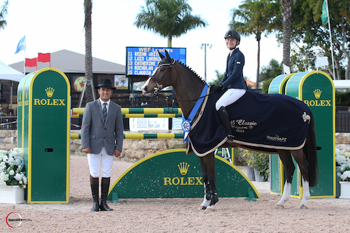 Paris Sellon and Belle in their winning presentation with ringmaster Gustavo Murcia