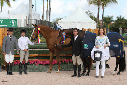 Ringmaster Gustavo Murcia, Janie Andrew and Ante Up, Peter Lombard and Academy Award, and Sally Stith-Burdette of Shapley's Grooming Products