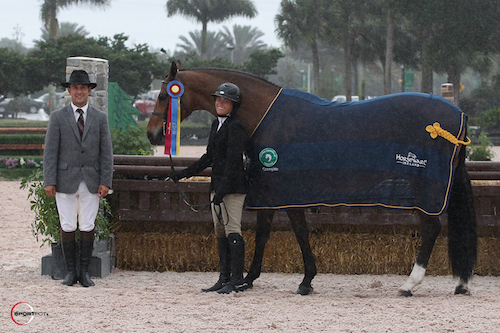 Victoria Colvin and Ovation in their championship presentation with ringmaster Gustavo Murcia