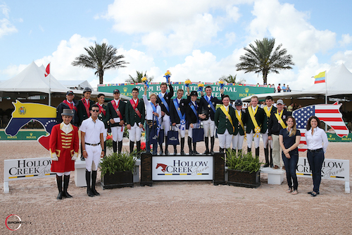Top three Young Rider teams - USA, Brazil and Ireland with Emanuel Andrade of Hollow Creek Farm and Equiline's Charly Miller and Kelly Molinari