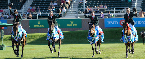 Brazil leads the round of honor following the BMO Nations' Cup at the Spruce Meadows Masters.