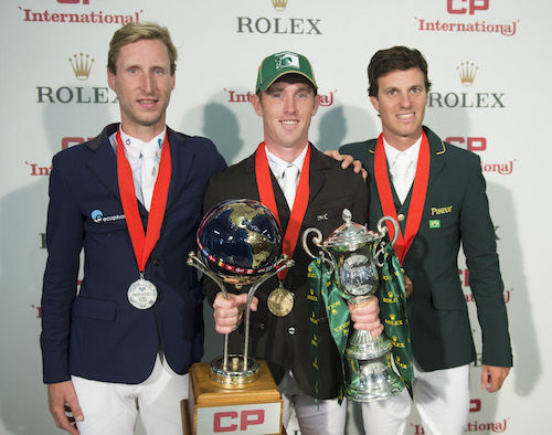 Pieter Devos, Scott Brash and Pedro Veniss after taking top three in the $1.5 Million CP International, presented by Rolex