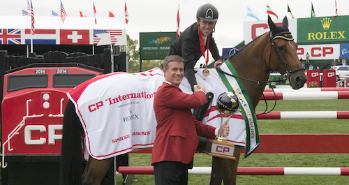 Scott Brash and Hello Sanctos in their winning grand prix presentation with Keith Creel, President & Chief Operating Officer, CP