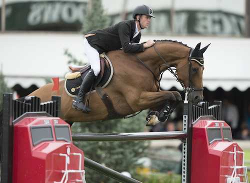 Scott Brash of GBR riding Hello Sanctos during the $1.5 Million CP International, presented by Rolex, at the Spruce Meadows Masters.