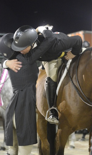 Caitlyn Shiels and Patricia Griffith celebrate a great night at Capital Challenge. Photo copyright The Plaid Horse.