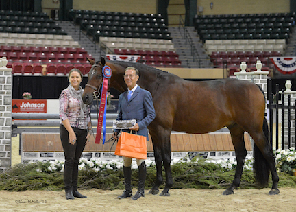 John French and Boss during their winner's presentation with Irma Rubesa of Equis Boutique.©ShawnMcMillenPhotography