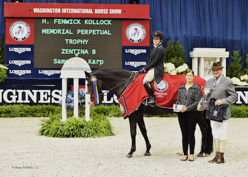Samantha Karp and Zentina B in their winning presentation with WIHS Executive Director Bridget Love Meehan and ringmaster John Franzreb