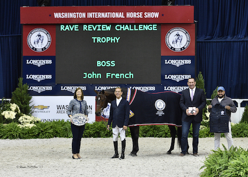 John French and Boss in their presentation for Grand Champion Hunter with WIHS Executive Director Bridget Love Meehan, Archie Cox, and groom Alex Garcia