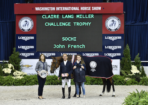 John French and Sochi in their presentation for Grand Champion Green Working Hunter joined by WIHS Executive Director Bridget Love Meehan and groom Laura Regan