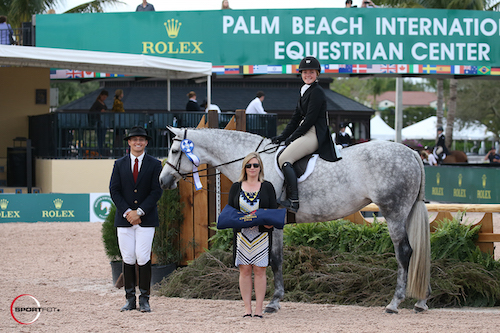 Ashley Hartman and Vogue in their winning presentation with ringmaster Christian Craig and Marla Holt of USHJA.