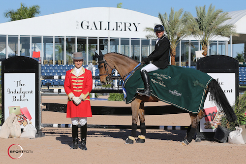 Eric Lamaze and Fine Lady 5 and their winning presentation with ringmaster Christian Craig.