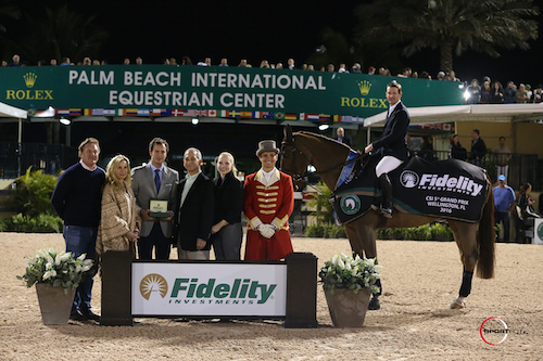 McLain Ward in his winning presentation with Equestrian Sport Productions CEO Mark Bellissimo; Wellington Equestrian Partners' principal Katherine Bellissimo; Anthony Schaub, Communications & Image, Rolex; Eric Diamond and Christina Anderson, Vice Presidents and Wealth Management Advisers for Fidelity Investments® in Palm Beach; and ringmaster Christian Craig.
