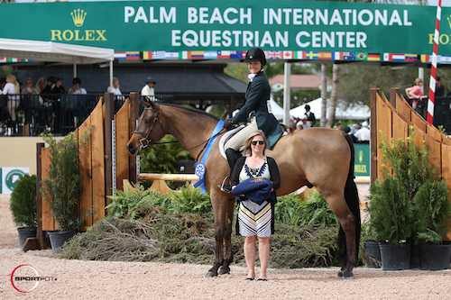 Stephanie Danhakl and Quest in their winning presentation with Marla Holt of USHJA.