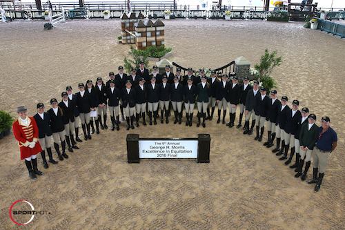 The riders of the ninth annual George H. Morris Excellence in Equitation Championships with ringmaster Christian Craig and George H. Morris.
