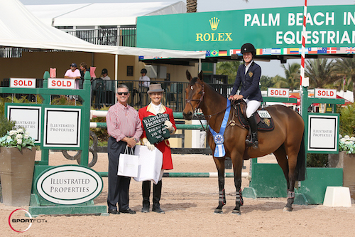 Jessica Springsteen and Davendy S in their winning presentation with Dave Corbin of Illustrated Properties and ringmaster Christian Craig.