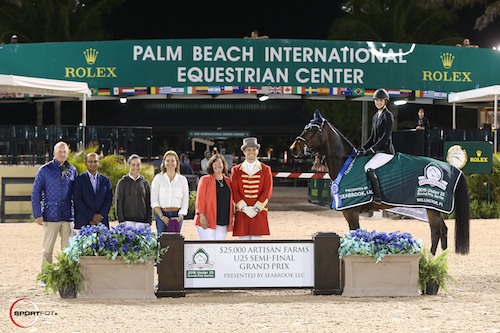 Kaely Tomeu and Gentille in their winning presentation with Guido Klatte, Tim Dutta of the Dutta Corp., Lacey and Kathryn Gilbertson of Seabrook LLC, Carlene Ziegler of Artisan Farms, and ringmaster Christian Craig.