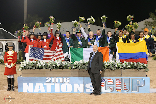 The top three teams with ringmaster Christian Craig and Equestrian Sport Productions President Michael Stone.