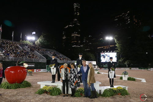 The top riders in their winning presentation with Judge Katrina Wuest, Antonia Ax:son Johnson of Axel Johnson and Mark and Katherine Bellissimo.