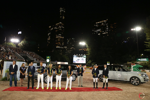 The U.S. Olympians were honored in a ceremony to celebrate their  achievements at the 2016 Rio Olympic Games (L to R) - Mark Bellissimo,  Victoria Lowell, Katherine Bellissimo, U.S. Dressage Chef d'Equipe Robert  Dover, Steffen Peters, Laura Graves, Allison Brock,  Kasey Perry-Glass,  Phillip Dutton, Kent Farrington, and McLain Ward.