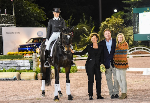 Seven-time Olympian Tinne Vilhelmson Silfven and Paridon Magi finished second in the U.S. Open Dressage Freestyle, presented by The Axel Johnson Group, at the 2015 RCPHS. Shown here with owner Antonia Ax:son Johnson and Mark and Katherine Bellissimo. Photo copyright Meg Banks.